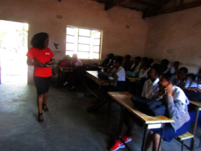 A girl talk session with at Falls Secondary School