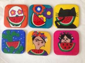 Mexican folk art coasters