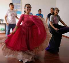 Practicing Mexican folkloric dance