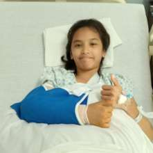 Jeslyn after elbow surgery