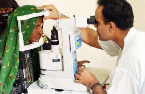 Eye examination in process