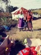 Grannies receiving food parcels