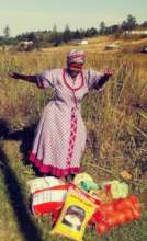 Granny dancing with joy at food relief