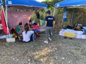 Our team visits an informal camp for survivors