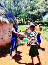 girls receiving pads in the villages
