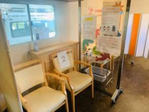 Trailer office with chairs and air purifier