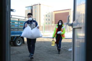 Staff in Mongolia distributing food