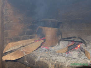 An improved cookstove in the kitchen