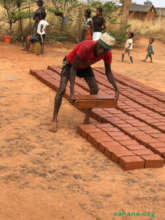 Marking the bricks for the rabbit house