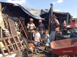 Families living in the garbage dump