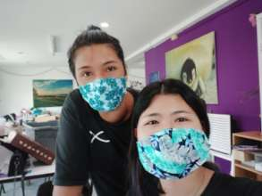 Our women making masks