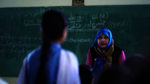 Schoolgirls learning about gender rights