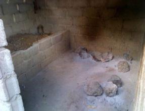 Inside the shelter's old kitchen