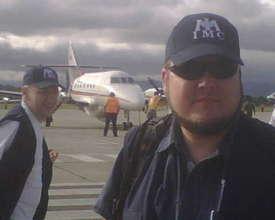 Boarding the last flight to Port-au-Prince, Haiti