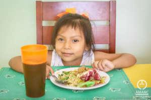 Citlali taking her food.