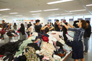 Volunteers Sorting Donated Clothes