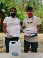 GFC partner delivering masks and hand sanitizers.