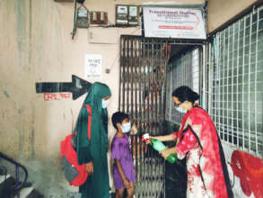 Entering local shelter in South Asia