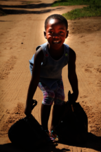 Weekly food parcels support this little girls home