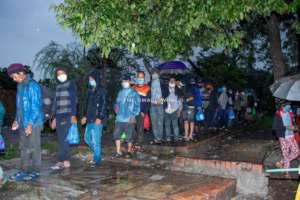 Relief work continue even in rain