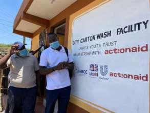 Opening a hygiene facility in City Carton, Kenya.