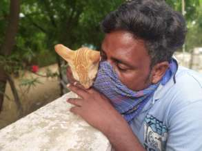 Nurturer Bunty cuddles a rescued cat