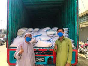 Team during ration distribution in Karachi