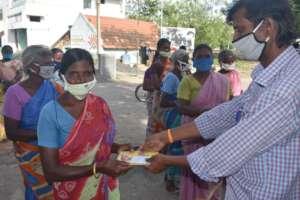 Indrarani receiving her cash grant