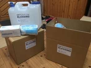 20 liters (5 gal.) tank and box of masks per box
