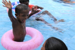 Fun in the pool at the Infants Home