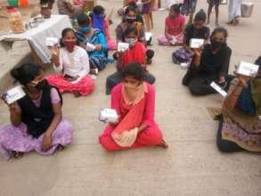 Girls with free sanitary pads