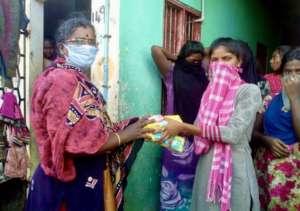 Sanitary pad distribution in a slum