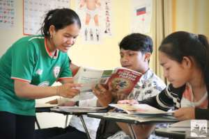 Youth studying English at the Learning Center