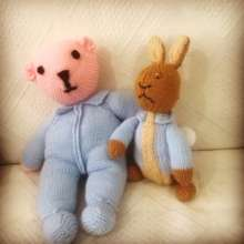 A teddy knitted by Elena who runs knitting group!