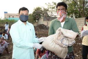sponsoring groceries kit to poor dailywage earner