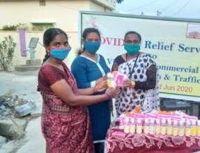 sanitary napkins and sanitizers distribution