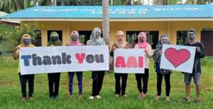 School in Sulu thanking AAI for PPE supplies