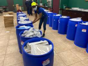 Packing 22 Barrels of Medical Supplies to Ship