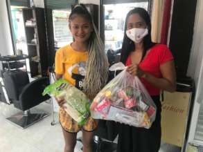 Women receiving bags