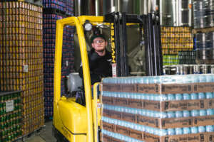 Pallets of canned water