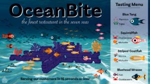 Reef Life marine restaurant infographic.