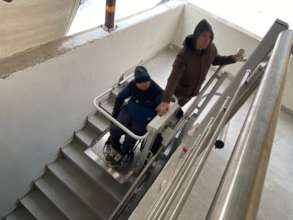 A special platform for people in wheelchairs.