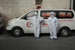 Al Awda Hospital crews with PPE
