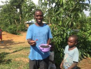 One of our caregivers after receiving the seeds