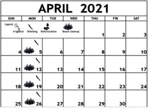 April 2021 Work shedule