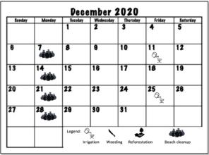 December 2020 Working schedule
