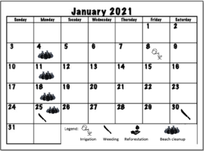 January 2021 Working schedule