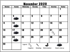 November 2020 Working schedule