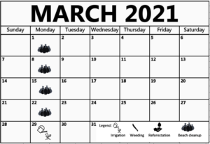 March 2021 Work shedule