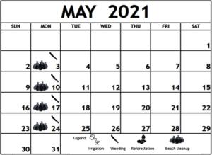May 2021 Work shedule